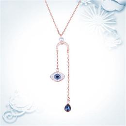Diy chain tassel necklace online shopping - WinTion SWA Sterling silver rose gold zircon tassel pendant zircon water drop personality sun necklace DIY men and women