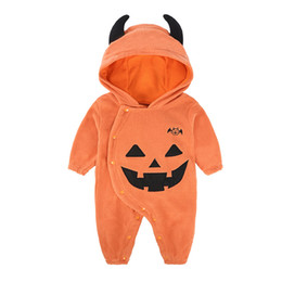 cotton baby coveralls Australia - 2019 fall and winter clothes baby coveralls baby Halloween pumpkin hooded leotard baby clothes out clothes show