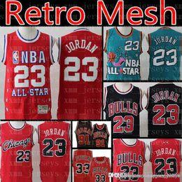 bbf1c473ae2 Retro Mesh Bulls 23 Michael Jersey 91 Dennis Chicago Rodman Bulls Jersey 33  Scottie Men Pippen Basketball Jerseys
