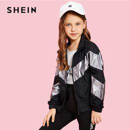 $enCountryForm.capitalKeyWord Australia - SHEIN Kiddie Girls Zip Up Color Block Jacket Coat Kids Clothes 2019 Spring Streetwear Long Sleeve Casual Jacket For Children