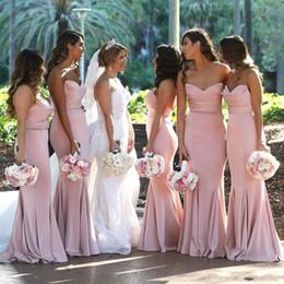 Cheap Blush Pink sirena del raso dell'innamorato lunghi abiti da damigella d'onore del pavimento increspata lunghezza Invitato a un matrimonio lungo cameriera d'onore Abiti BM0732 in Offerta