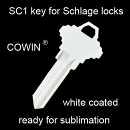 $enCountryForm.capitalKeyWord NZ - 100 pieces SC1 schlage 68 house key sublimation ready house key blanks white painted for DIY heat press personalization