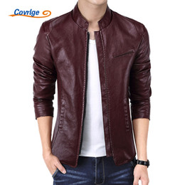 Wholesale red leather jackets resale online - Covrlge Men s Leather Jacket Autumn New PU Red Leather Jacket Men Fashion Stand Collar Motorcycle Jackets Coats MWP014