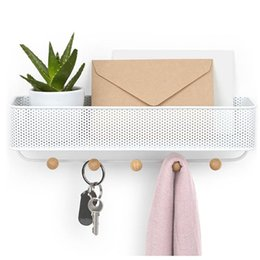 over door storage organizer Canada - 1 pc Wall Storage Rack Wall-mounted Hanging Rack Holder Over the Door Hanger Organizer Letters Shelf Storage with Hooks