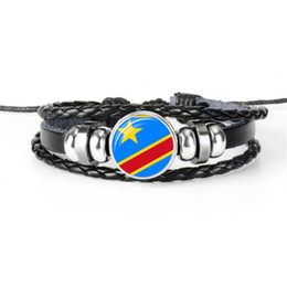$enCountryForm.capitalKeyWord Australia - 2019 New Black Genuine Leather Rope Beaded Bracelets Womens Mens Congo National Flag World Cup Football Fan Time Gem Glass Dome Jewelry Gift
