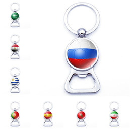 Football beer glasses online shopping - Football Bottle Opener Key Chains with Country Flags Keyrings Beer Souvenir Spain Russia Germany Soccer Fans Keychains Jewelry accessories