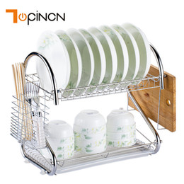 Chrome Metal Rack Australia - S-Shaped Dish Rack Set 2-Tier Chrome Stainless Plate Dish Cutlery Cup Rack With Tray Steel Drain Bowl Rack Kitchen Storage