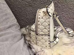 $enCountryForm.capitalKeyWord Australia - Women Split Sheep Leather rivet Fashion color Black Genuine sheep skin leather patchwork Rivet studded women backpack shoulder bag
