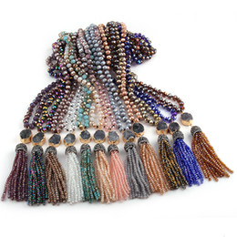 multi color glasses Australia - Fashion Bohemian Tribal Jewelry Multi Glass Knotted Druzy Link Crystal Tassel Necklaces Women Ethnic Necklace 24 color choose V191031