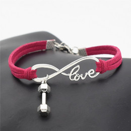$enCountryForm.capitalKeyWord Australia - Hot Brand Infinity Love Barbell Dumbbell Sports Fitness Pendant Charm Bracelet Bangles Womens Mens Rose Red Leather Suede Rope Jewelry Gifts