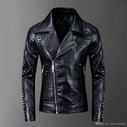 Wholesale mens fitted down coat resale online – NIBESSER XL Plus Size Slim Fit Men s Moto Biker Jacket Leather Coat Bomber Jacket Mens Winter Turn Down Collar Zipper Outerwear