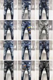Pink brand jeans online shopping - 2019 FW New Arrival Top Quality Brand Designer Men Denim Jeans Embroidery Pants Fashion Holes Trousers US Size