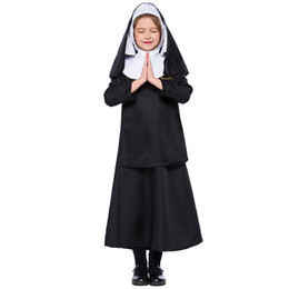teenage costumes Canada - New Children's Halloween Cosplay Costume Classic Nun Long Dress Sister Stage Performance Dress School Fancy Suit For Girls