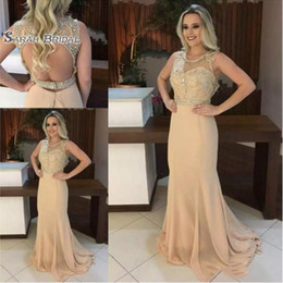 $enCountryForm.capitalKeyWord NZ - 2019 Elegant Champagne Long Prom Dresses Scoop Neck Sleeveless Beads Crystal Sexy Open Backless Mermaid Prom Gowns