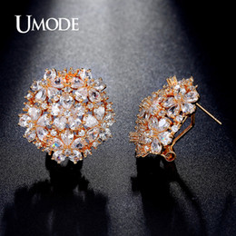 pear stud earrings Australia - Fashion- Latest Pear Cut Cluster Flower Top Quality CZ Gold-color French Clip Stud Earrings for Women Boucle D'oreille UE0188A