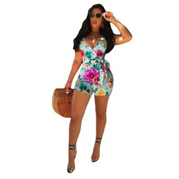 21a5a8434b8 Vintage Printed Deep V-neck Rompers Womens Jumpsuit Shorts Bib Overalls  Ladies Bodysuit Plus Size Sleeveless Runway Body Mujer