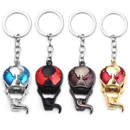Spider Man Action Figures For Australia - New Hot Movie Venom Keychain Alloy Pendant Keyring Venom Spider Man Action Figure toys llaveros For Fans Gift
