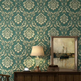 wallpapers for rooms Australia - European Luxury Non-woven Wallpaper Modern Damask Wallpaper For Living room Walls Bedroom Embossed Wall Papers Home Improvement
