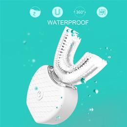 Опт 360 Градусов Интеллектуальная Автоматическая Sonic Электрическая Зубная Щетка U Тип Кисти Usb Зарядка Зуба Отбеливание Зубов Синий Свет Q190606 Q190614