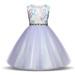 Ball frock design online shopping - Baby Girls Flower Applique Dresses Little Girl Party And Wedding Costume Kids Clothes For Girl New Design Birthday Frocks T Y190516