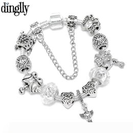 butterfly chain bracelets silver NZ - Dinglly Silver Color Bird Charm Bracelet For Men Original Love Heart Butterfly Flower Crystal Beaded Bangle Party Jewelry Gift