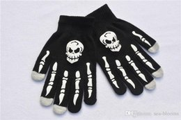 Cycling Skeleton NZ - Holloween Night Gloves Mitts Women Men Winter Warm Knitting Skeleton Ghost Claw Five Fingers Gloves Cosplay Christmas Gloves Gifts H922Q