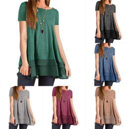 Wholesale black shirt chiffon hem online – Women Summer T Shirt Short Sleeved Shirts Party Wear Solid Color T shirt Chiffon Patchwork Top Casual Double Hem Loose Flowing Tops Cloths