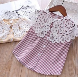 Girl Plaid Shirts Australia - Kids plaid shirt girls lace hollow embroidery lapel princess tops children single breasted sleeveless blouse 2019 summer kids clothes