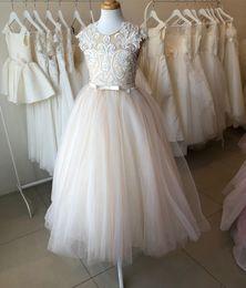 White floWer girl dresse online shopping - Lace Beaded Flower Girl Dresse Sheer Neck Tulle Cheap A line Little Girl Wedding Dresses Vintage Communion Pageant Dresses Gowns F160