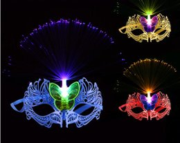 fiber optic ball Australia - Party Mask Fiber Optic Glowing Mask Bar Birthday Ball Masquerade Dress Up 50pcs lot GB441