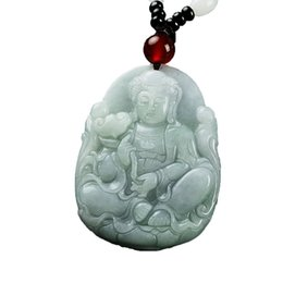 Chinese  Koraba Fine Jewelry c1lint Jadeite Certified Grade A Jade Guan Yin Goddess of Mercy Adjustable Pendant Necklace Free Shipping manufacturers