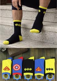 Chinese  Batman spiderman iron man superman socks men's cotton character comic trend hero socks manufacturers