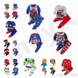 Boys Batman Pants Australia - Spring Autumn Baby Boy Children Autumn clothes Autumn pants Superman Spider-Man Batman Captain America Home Clothes Pajamas T7G001