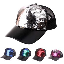 sequin ball cap adjustable Australia - YOUYEDIAN Sequins Patchwork Mesh Cap Baseball Cap Outdoor Net Sun Hat Unisex Adjustable Snapback Versatile Hat
