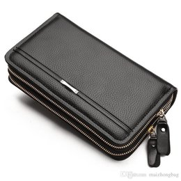 Wholesale Leather Men Wallet Pu Material High Quality Nice New Double Zipper Purses And Wallets Gifts For Men