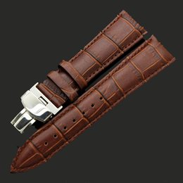 Durable Strap men Echtes Lederarmband für 18mm 20mm 22mm 24mm Kuh Uhrenarmband Edelstahl Push-Button Hidden Clasp