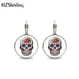 $enCountryForm.capitalKeyWord Australia - 2019 New Fashion Sugar Skull Clip Earrings Flower Sugar Skull Glass Dome Silver Bronze Plated Hook Earrings For Women Gift