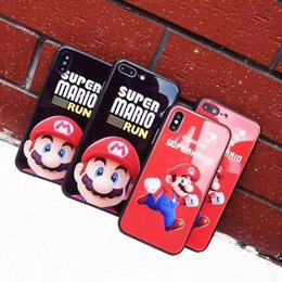 Iphone Glasses Red Australia - Super Mario Phone Case Back Glass Cover Black and Red Color Super Mario Running for iPhone