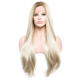 platinum color long wigs 2019 - Sexy Long Silky Straight Platinum Blonde Wig Dark Roots Ombre Wigs Real Picture Heat Resistant Glueless Synthetic Lace F