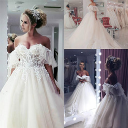 Discount church sexy wedding dress - 2019 Floral Puffy Wedding Dresses Lace Sweetheart Arabic Middle East Church Plus Size Backless Bridal Gown Court Train