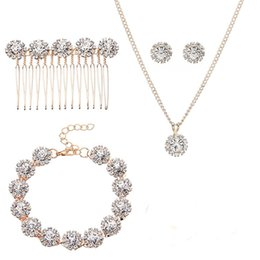 $enCountryForm.capitalKeyWord UK - SLBRIDAL Gold Crystals Rhinestones Alloy Wedding Jewelry Set Bridal Necklace Earring Bracelet Hair Comb Set Bridesmaids Women