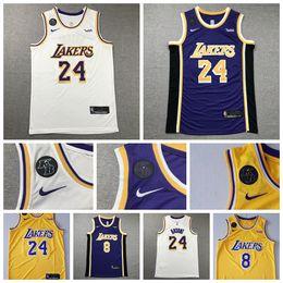 Los men AngelesLakersKobe8Bryantnba24Commemorative White yellow VioletEdition Basketball Jerseys New