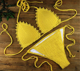 crochet swimming Canada - Boho clothing Handmade crochet bikini sexy two-piece swimming suit Beach Tankini set