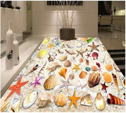 vintage beach painting Australia - Custom photo wallpapers 3d self-adhesive flooring painting Wall Stickers Underwater World Beach shell 3D floor Painting mural wall papers