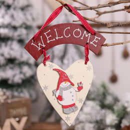 Discount welcome door decorations - Christmas Wooden Hanging Sign Decor For Home Wall Door Window Wood Welcome Sign Hanging Decorations Xmas Tree Ornaments