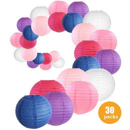 $enCountryForm.capitalKeyWord NZ - Thanksgiving Day Baby Birthday Party Outdoor Indoor Diy Decor Supplies White Pink Rose Navy Blue Paper Lantern 30 Pcs Set Mixed Sizes Colors