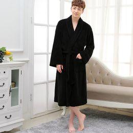 winter oversize Men Flannel Robes coral fleece loose thicken warm Male  Bathing Suits plus size pure color autumn Terry Bathrobes c0d2ea404