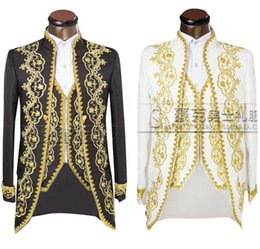 Tuxedo TailcoaTs online shopping - Jacket pants vest Gold Fashion Men suits Slim Fit Tailcoat Groom wedding Prom Dress Suit Embroidered Male For Tuxedo