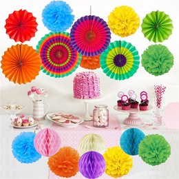 Discount wholesale baby fans Paper Fan flower Paper Flower Balls Sets birthday party paper fan flower for decoratin Baby age barty Shop holiday decor