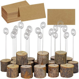 $enCountryForm.capitalKeyWord UK - Tree Stump Craft With Paper Card Wedding Party Place Card Holder Table Stand Number Tag Home Memo Picture Photo Clip 100 Pieces DHL